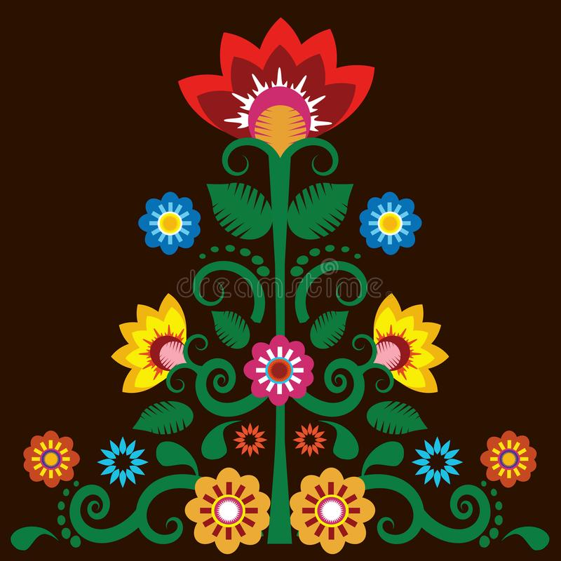 Mexican flower illustration background. Mexican floral illustration pattern motive background stock illustration
