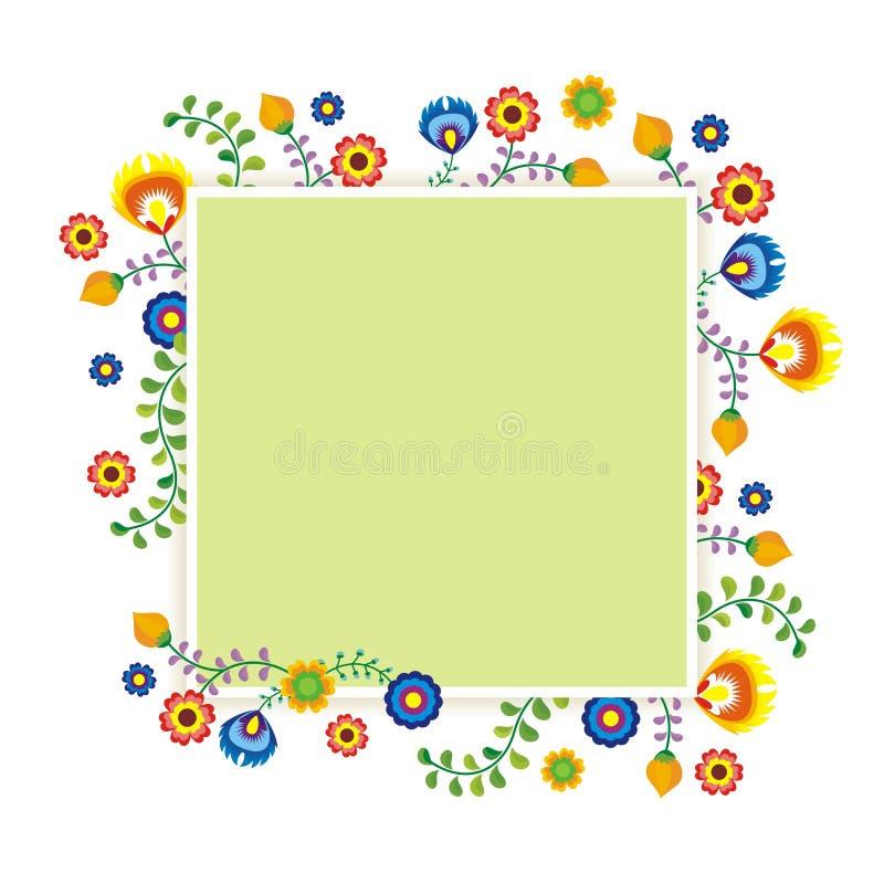 Mexican ethnic flower frame - border design. Mexican flower frame - border design with colorful flowers frame design, suitable for wedding or party invitation stock illustration