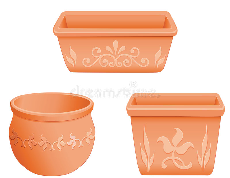 Download Mexican Flowerpots stock vector. Image of container, natural - 4311489