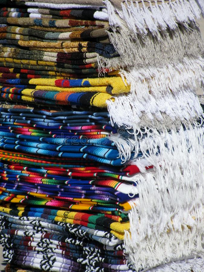 Mexican folded fringe blankets royalty free stock images