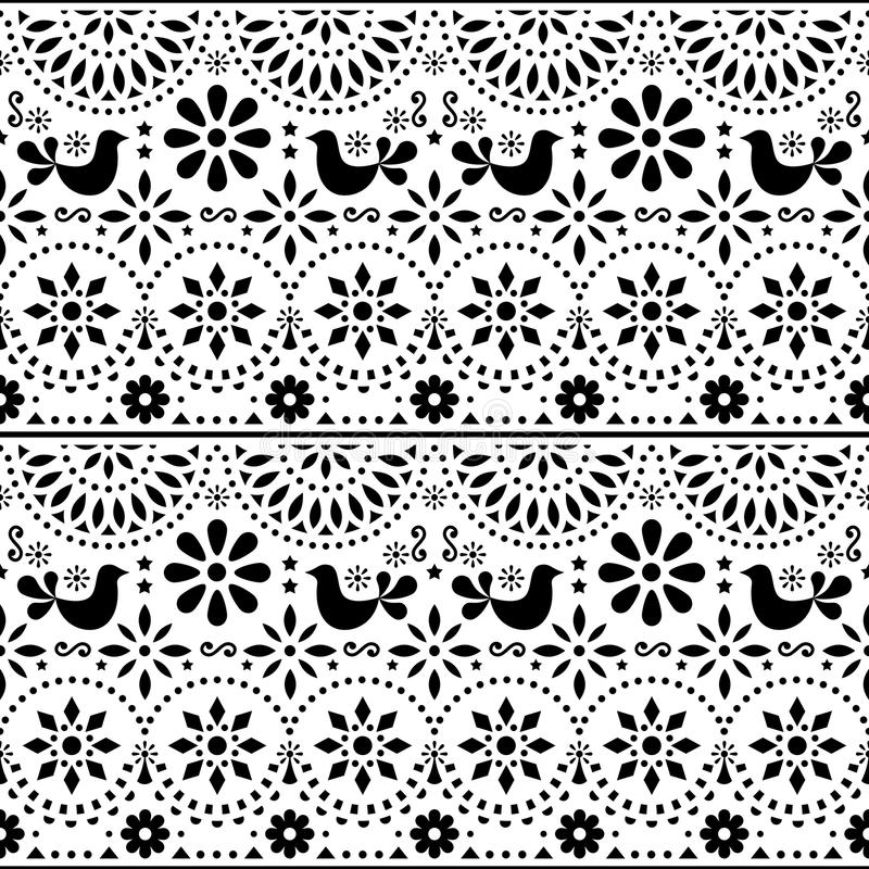 Download mexican folk art vector seamless pattern with birds and flowers black and white fiesta