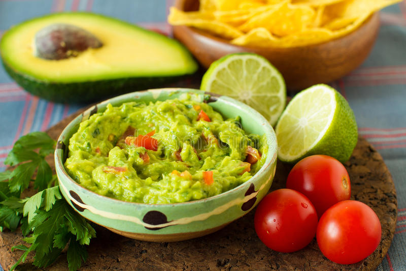 Mexican food: avocado dip royalty free stock photography