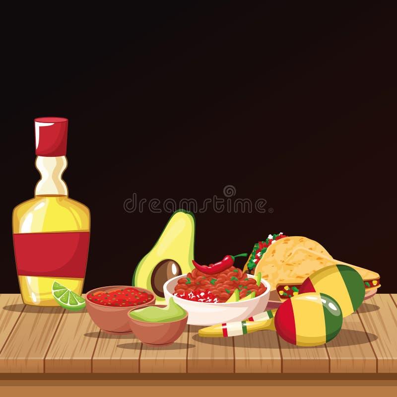 Mexican food cartoons stock illustration