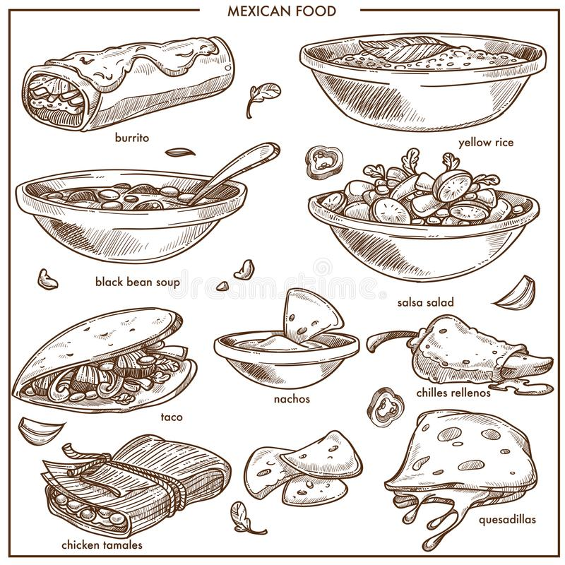 Mexican food cuisine traditional dishes vector sketch icons for restaurant menu. Mexican food cuisine traditional dishes sketch icon for restaurant menu. Mexico stock illustration