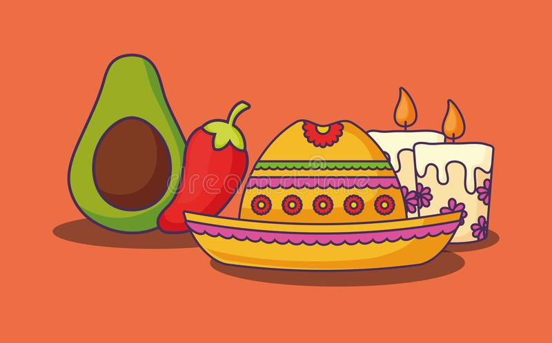 Mexican food design. Mexican hat with related icons over orange background, colorful design. vector illustration stock illustration