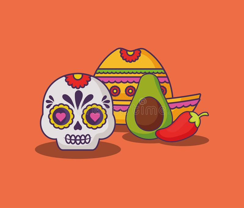 Mexican food design. Mexican hat with sugar skull and avocado over orange background, colorful design. vector illustration royalty free illustration