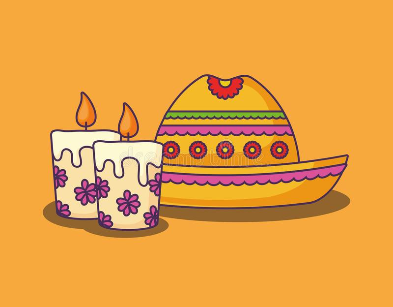 Mexican food design. Mexican hat with candles over yellow background, colorful design. vector illustration royalty free illustration