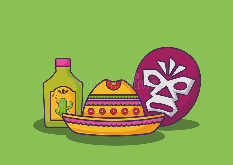 Mexican food design. Mexican hat with wrestler mask and tequila bottle over green background, colorful design. vector illustration royalty free illustration