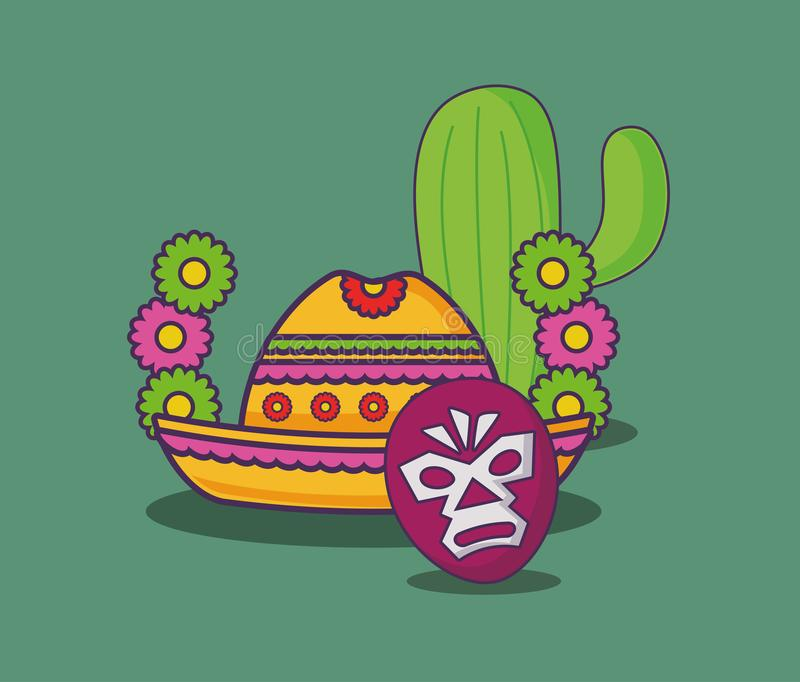 Mexican food design. Wreath of flowers with Mexican hat and wrestler mask over green background, colorful design. vector illustration stock illustration