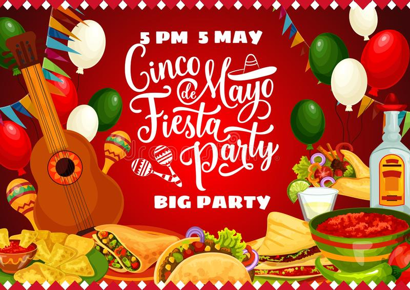 Mexican food, drink, guitar. Cinco de Mayo party. Mexican fiesta party vector invitation with Cinco de Mayo food and drink. Guitar, maracas and cactus tequila stock illustration