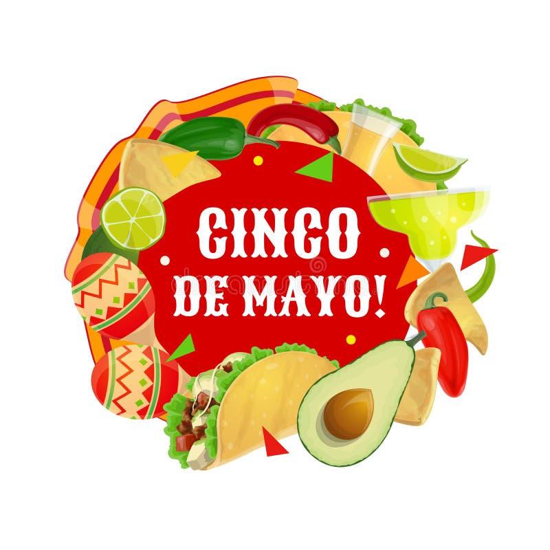 Mexican food, drink, maracas. Cinco de Mayo party. Cinco de Mayo fiesta Maracas, Mexican party food and drink vector design. Cactus tequila, margarita and chilli stock illustration