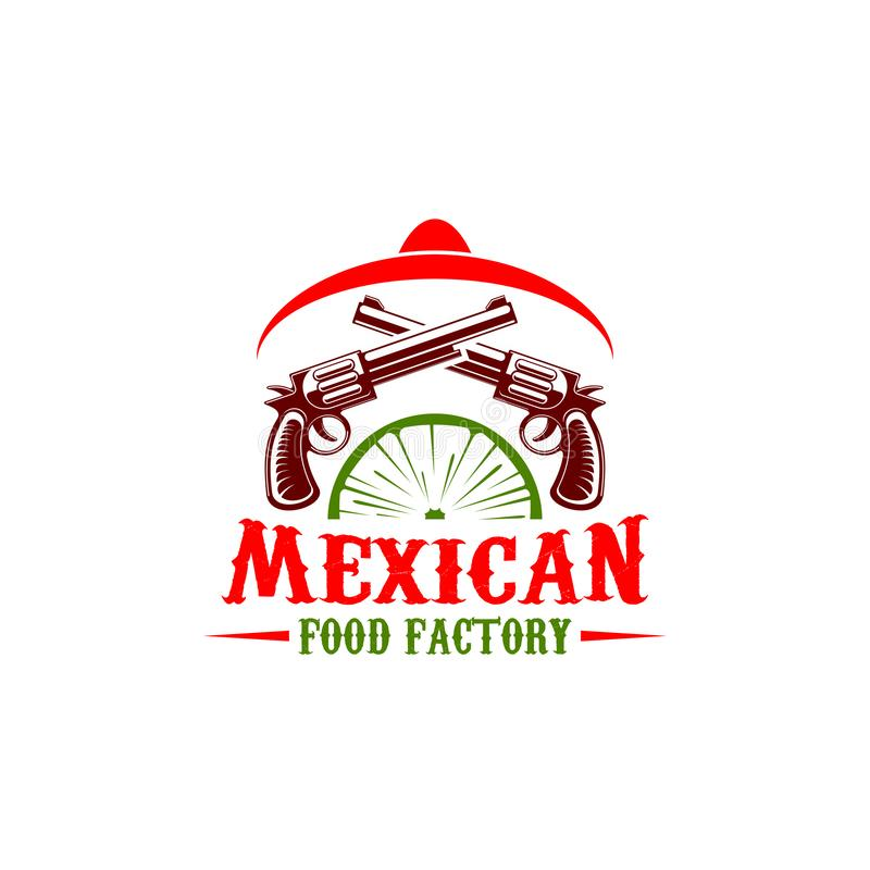 Mexican food factory sign. Mexican food factory vector icon. Mexican cuisine sign for restaurant or fast food cafe. Symbol of sombrero hat, revolvers and lime royalty free illustration