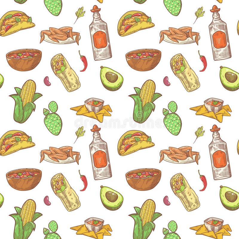 Mexican Food Hand Drawn Seamless Pattern. Mexico Traditional Cuisine Background royalty free illustration