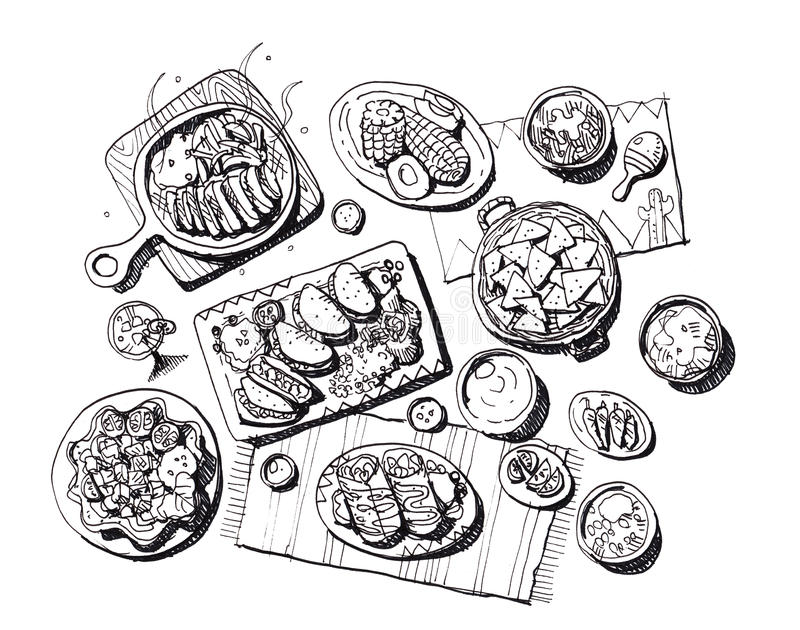 Download Mexican food illustration stock illustration. Illustration of food - 48805786
