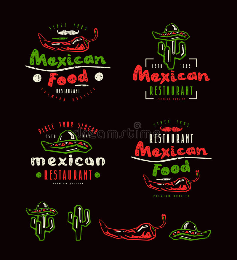 Mexican food labels, badges and design elements. Hot peppers, sombrero and cactus drawings. Color print on black background stock illustration