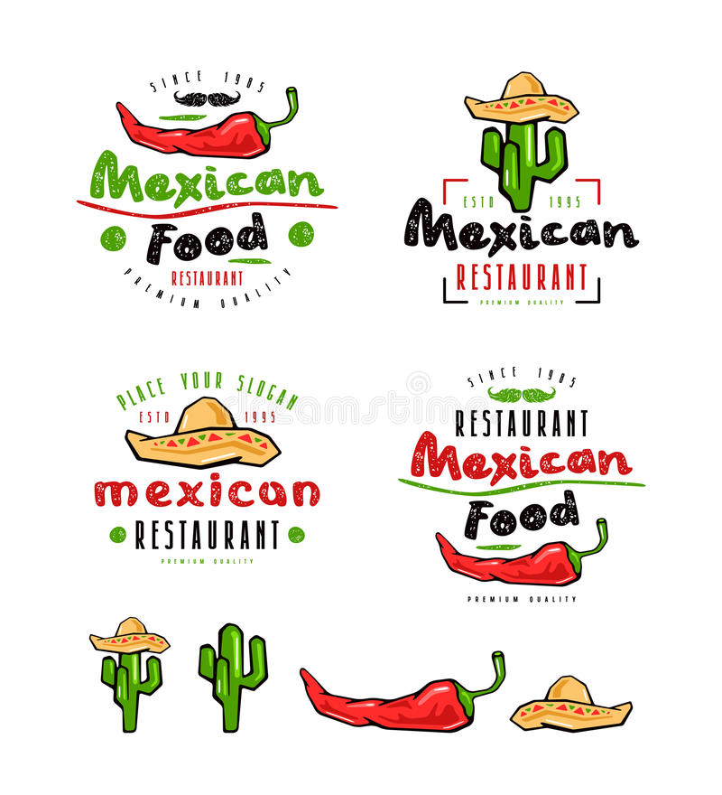 Mexican food labels, badges and design elements royalty free illustration