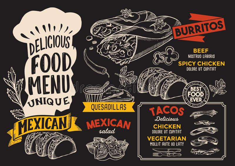 Mexican food menu template for restaurant with chefs hat lettering. Mexican menu template for restaurant on a chalkboard background vector illustration brochure royalty free illustration