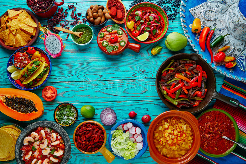 Mexican food mix colorful background Mexico. Mexican food mix copyspace frame colorful background Mexico royalty free stock photo