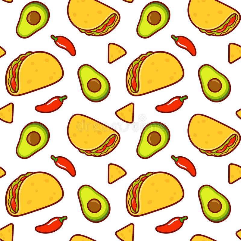 Mexican food pattern stock illustration