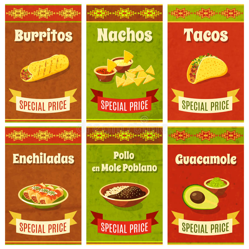 Mexican Food Poster. Mexican food promo poster mini set with traditional meal and ingredients vector illustration stock illustration