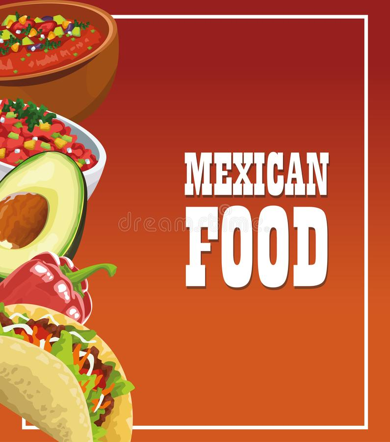 Mexican food poster with tacos royalty free illustration