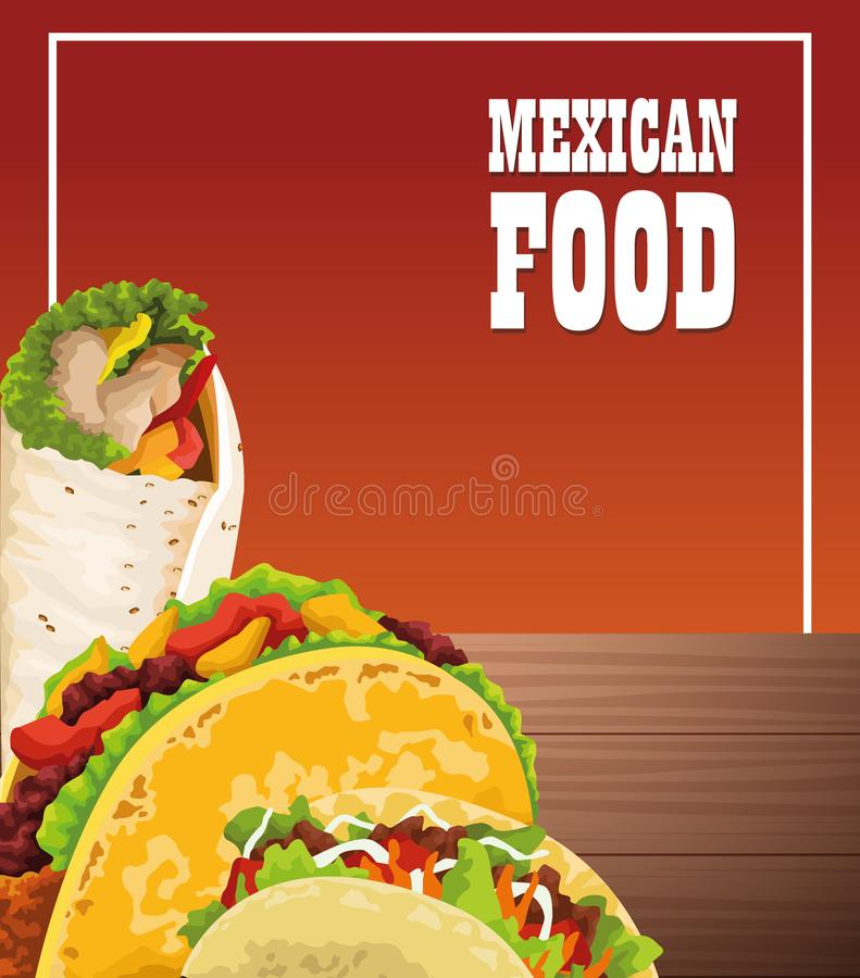 Mexican food poster with tacos vector illustration