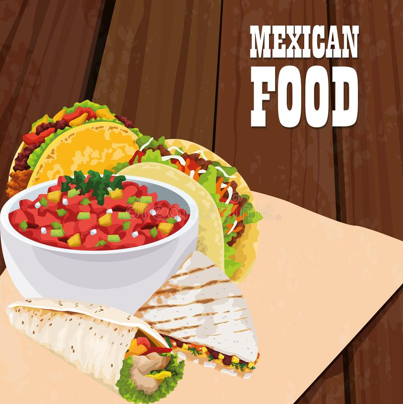 Mexican food poster with tacos stock illustration