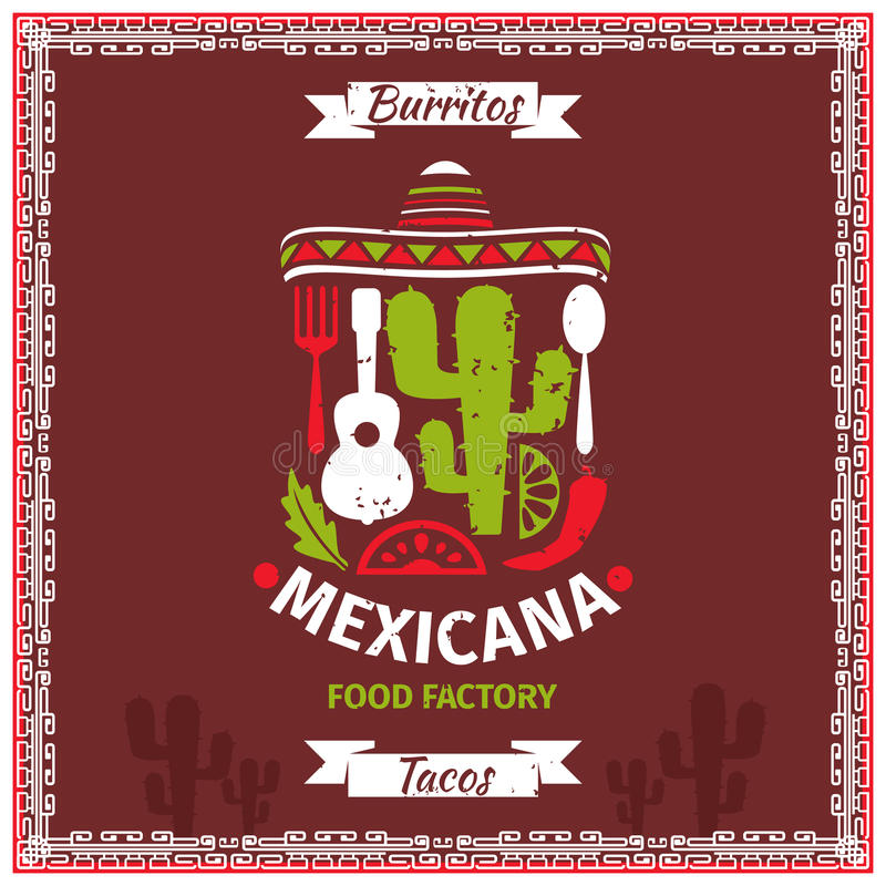 Mexican food poster vector template design. Restaurant illustration, retro vintage banner for menu stock illustration