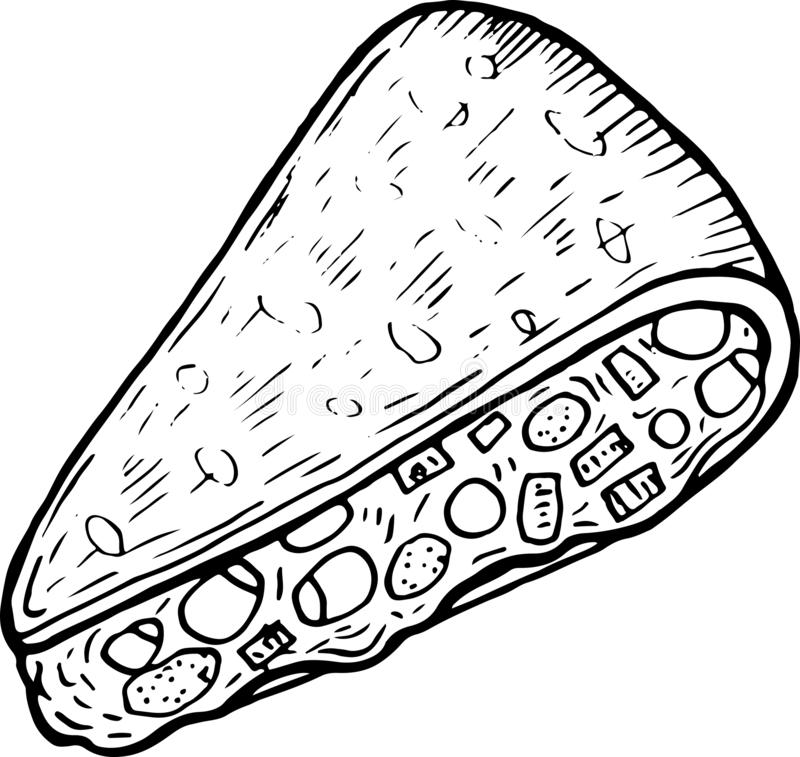 Mexican food quesadilla - coloring page for adults. Ink artwork. Graphic doodle cartoon art. Vector illustration.  stock illustration