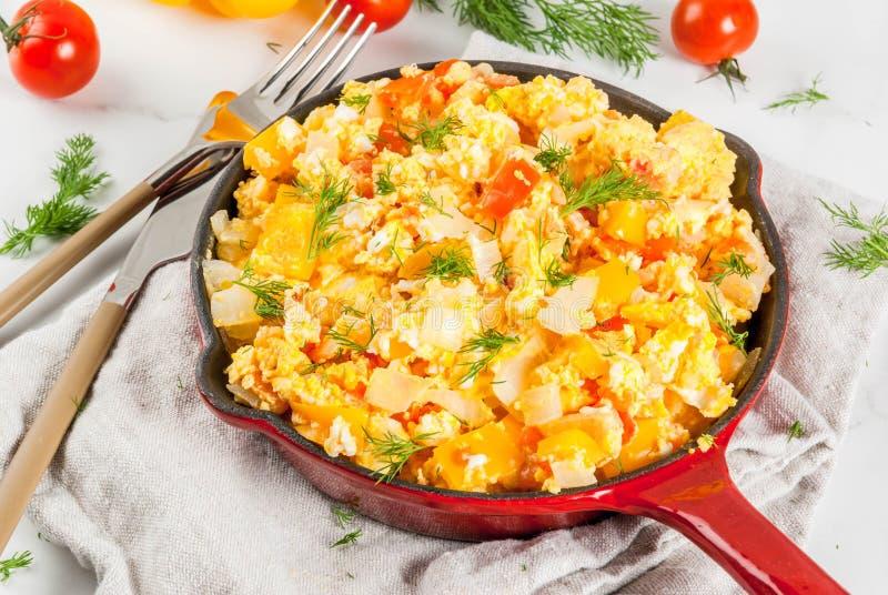 Mexican food recipes Revoltillo de Huevos, Scrambled Eggs a la Dominicana royalty free stock photos