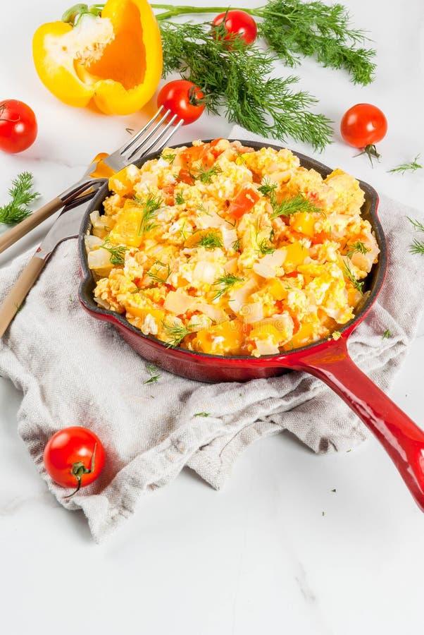 Mexican food recipes Revoltillo de Huevos, Scrambled Eggs a la Dominicana royalty free stock images