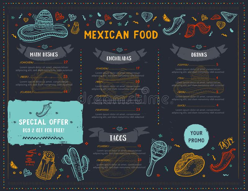 Mexican Food Restaurant menu, template design with sketch icons of Chili pepper, sombrero, tacos, nacho, burrito royalty free illustration