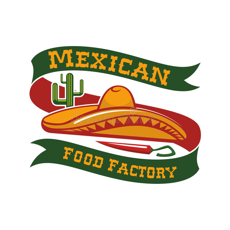 Mexican food restaurant sombrero hat vector icon. Mexican restaurant emblem. Mexico food bar vector isolated icon or badge with mexican sombrero hat, chili stock illustration