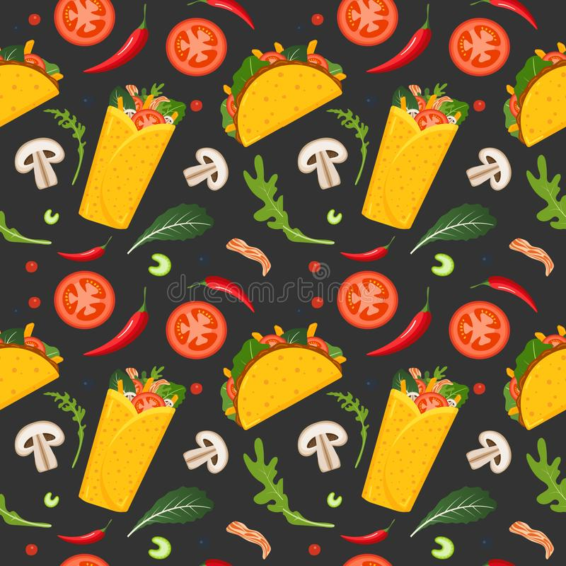 Mexican food seamless pattern. Burrito, taco, hot pepper and green lettuce. Colorful background, cute style. Vector vector illustration