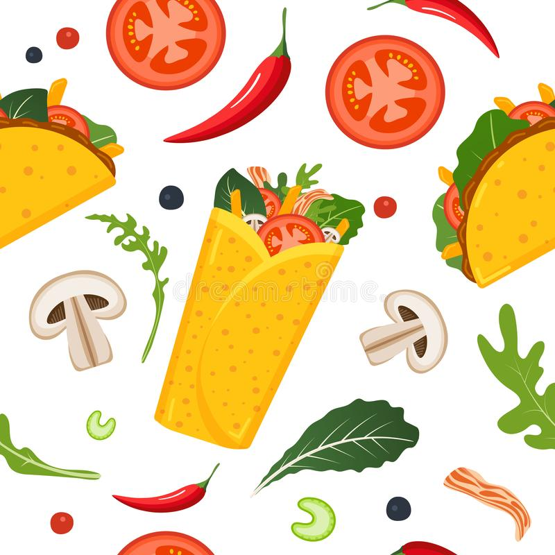 Mexican food seamless pattern. Burrito, taco, hot pepper and green lettuce. Colorful background, cute style. Vector royalty free illustration