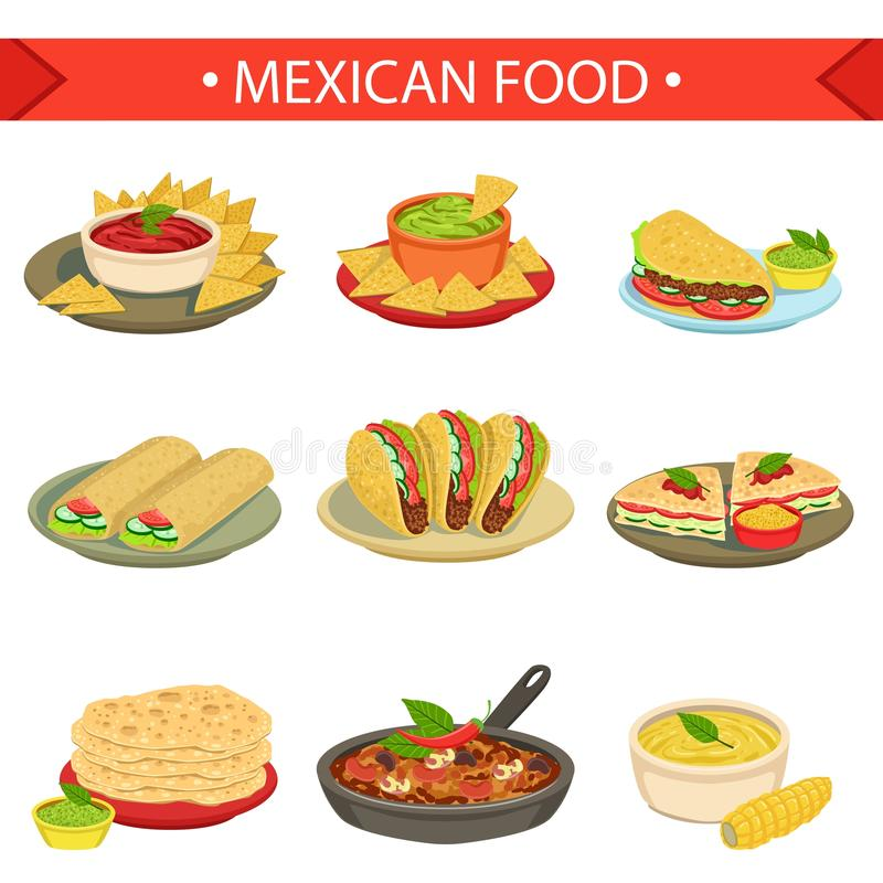 Mexican food signature dishes illustration set stock for Art de cuisine plates
