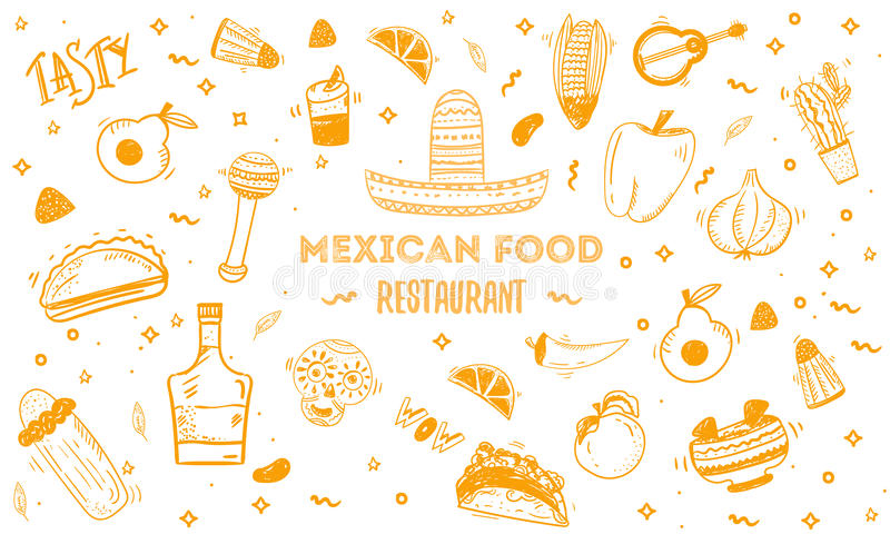 Mexican food sketch menu template. Vector vintageillustration for , poster on white background. with place text. Mexican food sketch menu template. Vector royalty free illustration