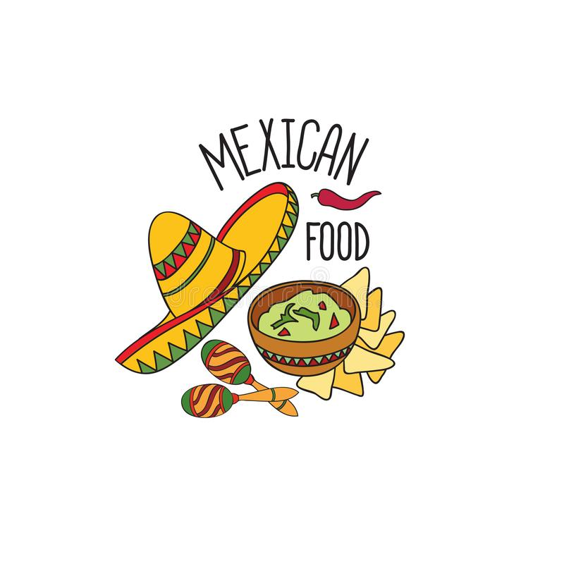 Mexican food symbol set. Fastfood sign. Guacamole, hat, musical icon. Mexican food symbol. National cuisine set. Mexican dish doodles sign. Fastfood icons with royalty free illustration