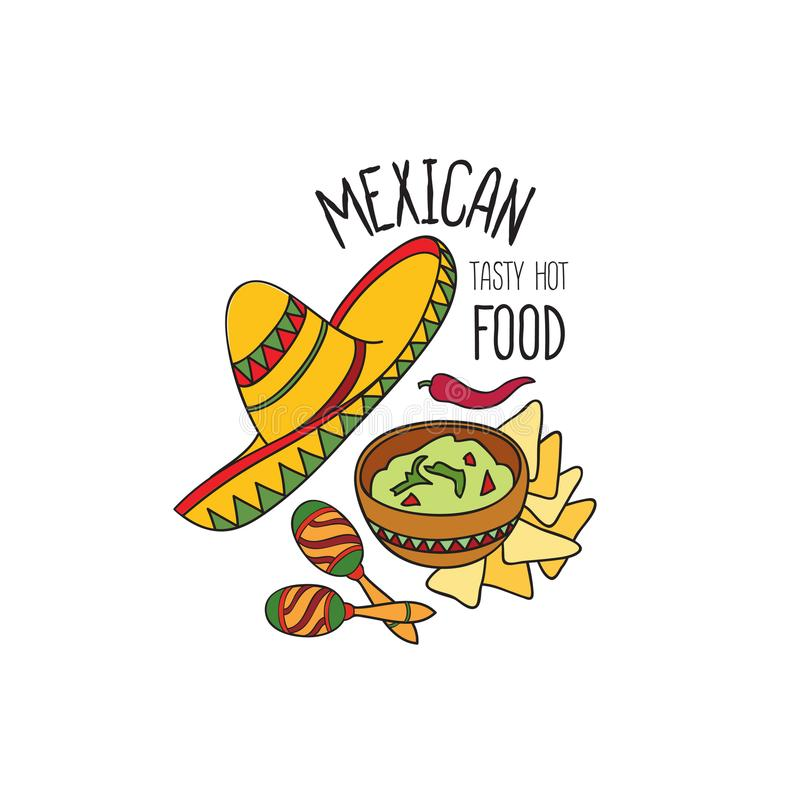Mexican food symbol set. Fastfood sign. Guacamole, hat, musical icon. Traditional food icon. Mexican food symbol. National cuisine set. Mexican dish doodles vector illustration