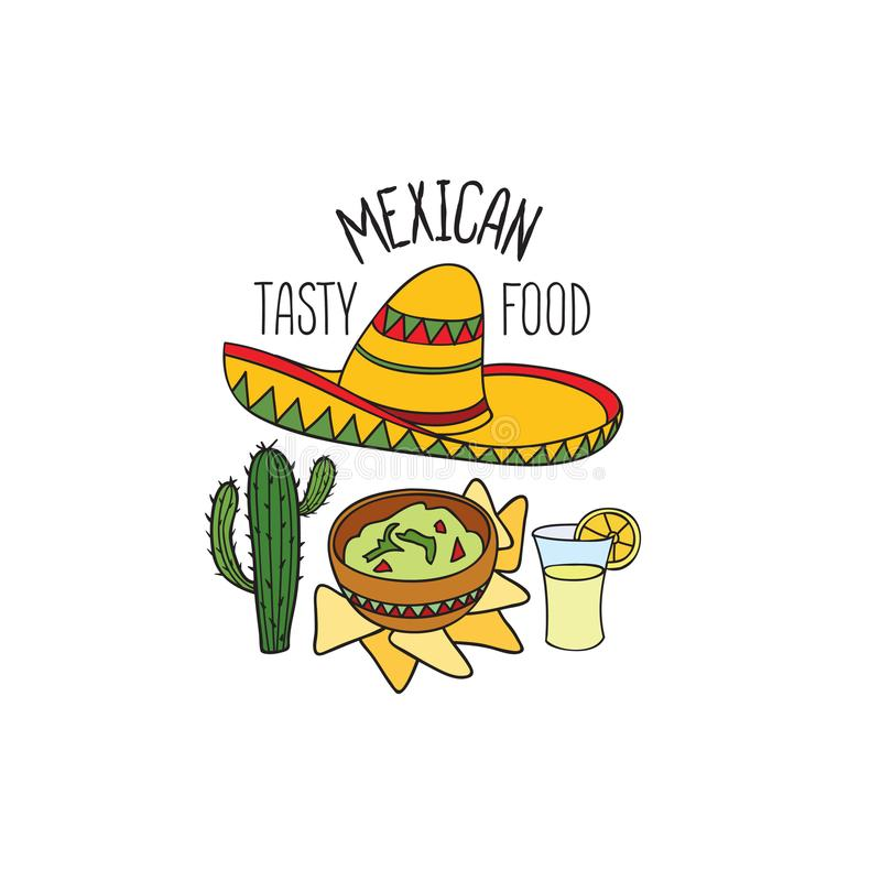 Mexican food symbol set. Fastfood sign. Guacamole, tequila, hat, cactus icon. Mexican food symbol. National cuisine set. Mexican dish doodles sign. Fastfood stock illustration