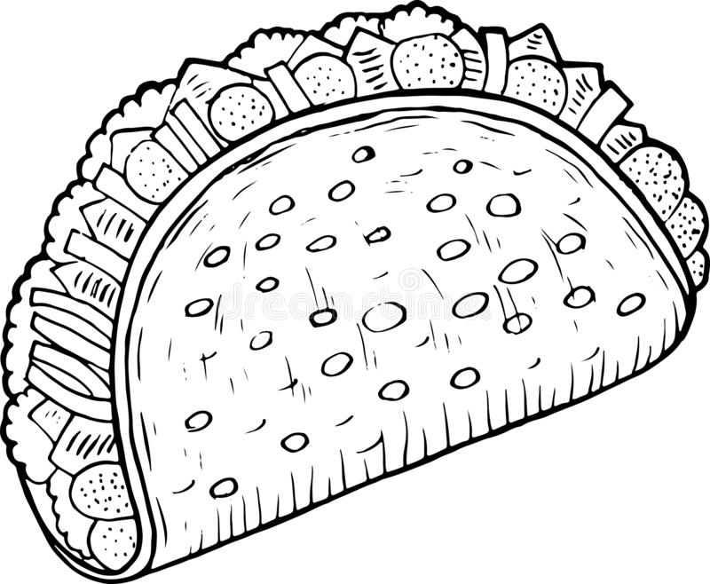 Mexican food taco - coloring page for adults. Ink artwork. Graphic doodle cartoon art. Vector illustration.  stock illustration
