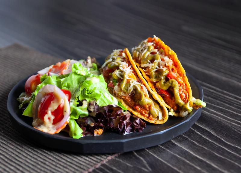 Mexican food Taco, meat  delicious , Ground Beef Tacos Shells with salad stock photography