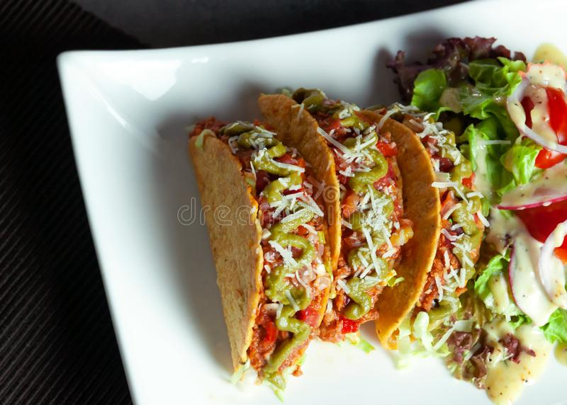 Mexican food Taco, meat  delicious , Ground Beef Tacos Shells with salad stock image