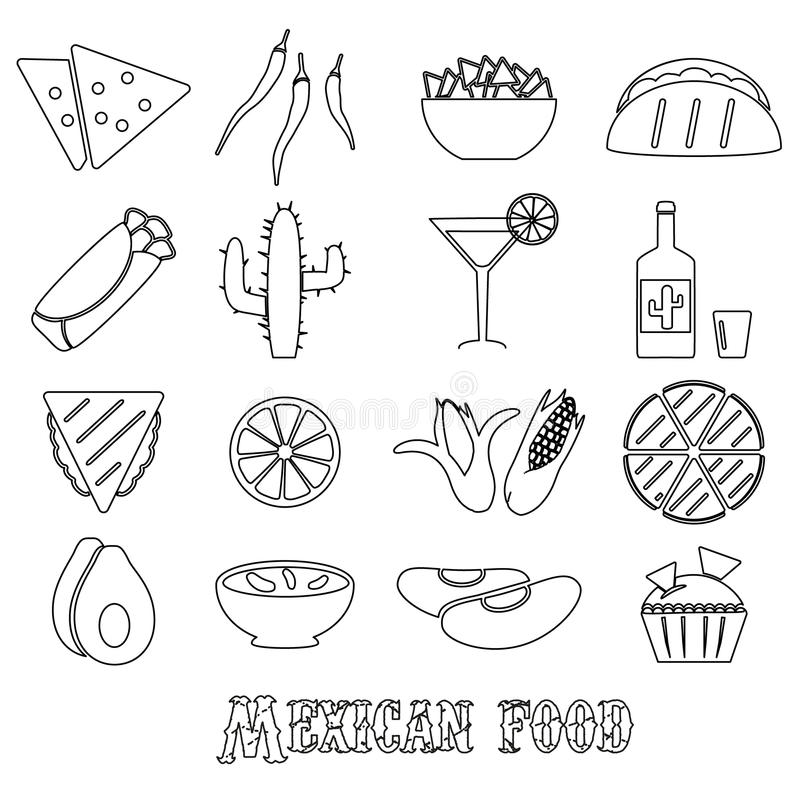 Mexican food theme set of simple outline icons stock illustration