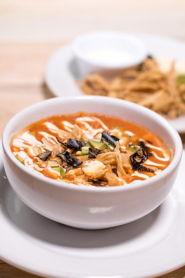 Tortilla soup, mexican food, tasty stock photography