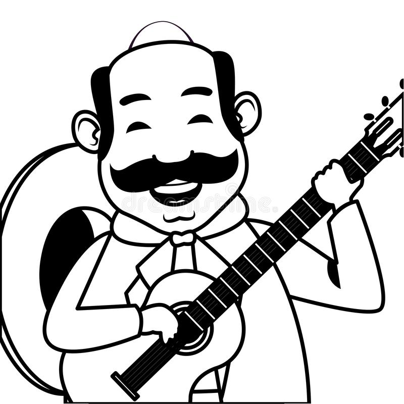 Mexican food and tradicional culture in black and white. Mexican food and tradicional culture with a mariachis man with mexican hat, moustache and guitar closeup vector illustration