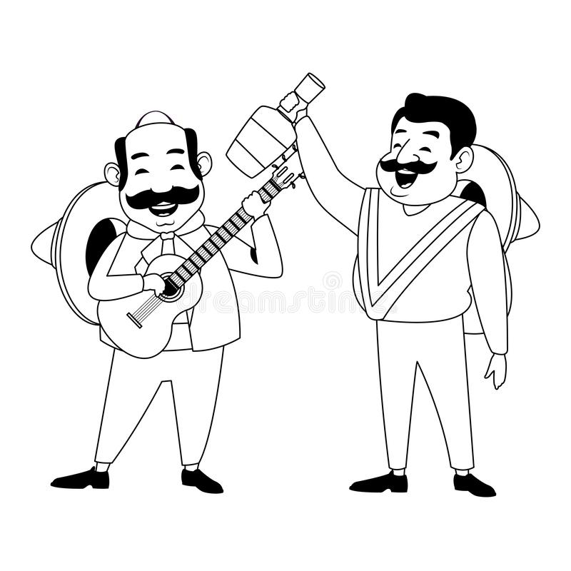 Mexican food and tradicional culture in black and white. Mexican food and tradicional culture with a mariachis man with mexican hat, moustache and guitar and man vector illustration