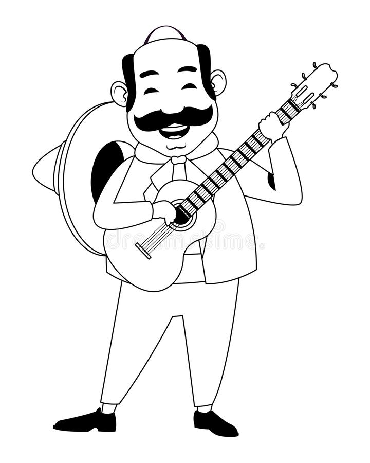 Mexican food and tradicional culture in black and white. Mexican food and tradicional culture with a mariachis man with mexican hat, moustache and guitar avatar vector illustration