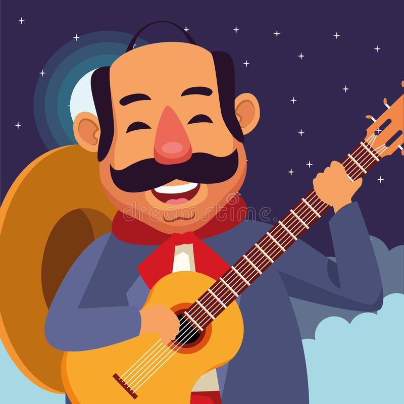 Mexican food and tradicional culture. With a mariachis man with mexican hat, moustache and guitar closeup profile picture avatar cartoon character portrait at royalty free illustration