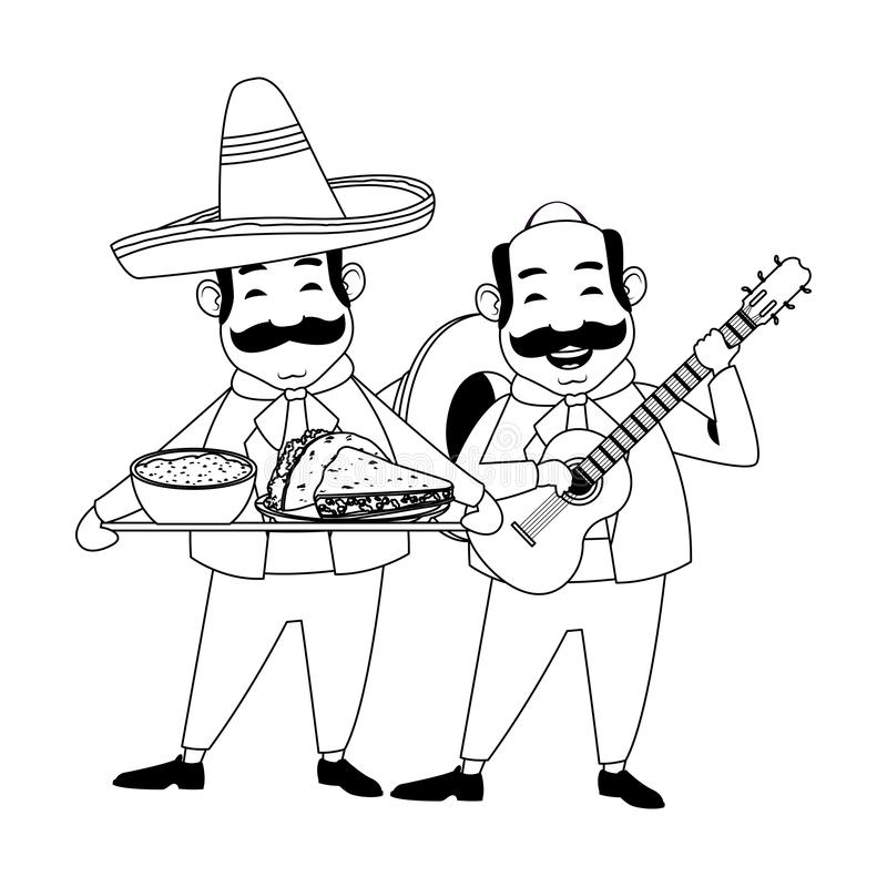 Mexican food and tradicional culture in black and white. Mexican food and tradicional culture with a mariachis man with mexican hat, moustache and guitar and man stock illustration